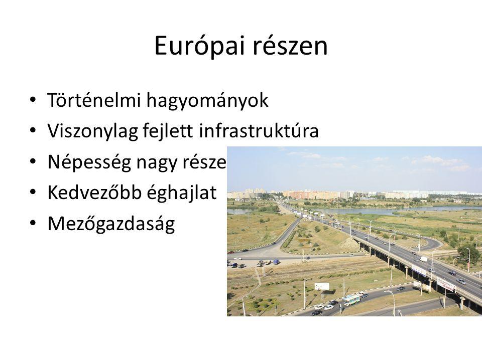 Európai részen Történelmi hagyományok Viszonylag fejlett infrastruktúra Népesség nagy része Kedvezőbb éghajlat Mezőgazdaság