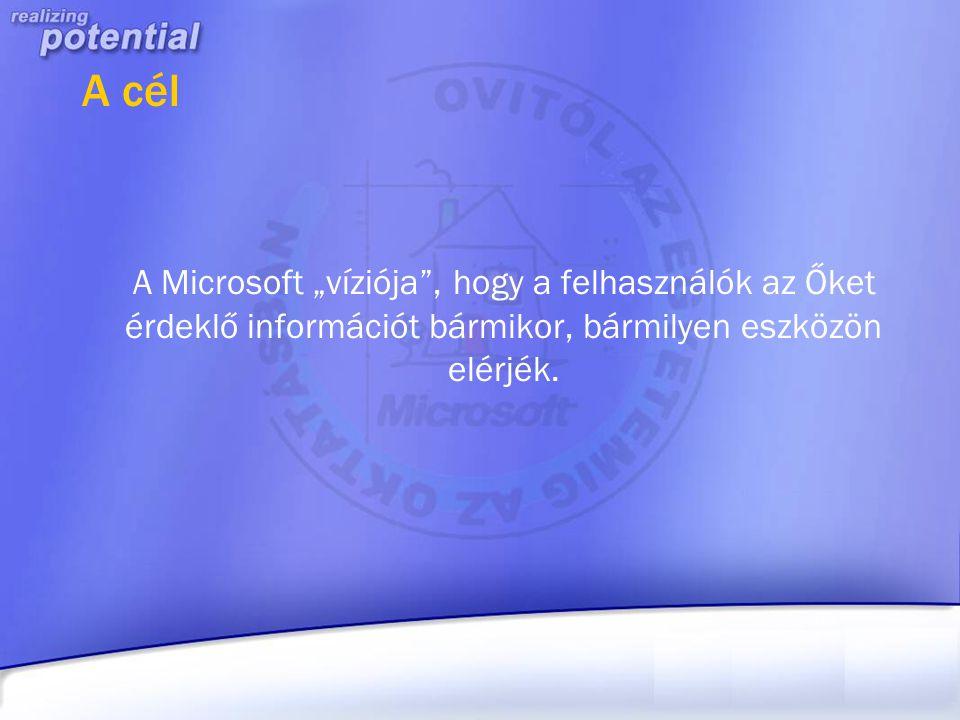"""A cél A Microsoft """"víziója"""", hogy a felhasználók az Őket érdeklő információt bármikor, bármilyen eszközön elérjék."""