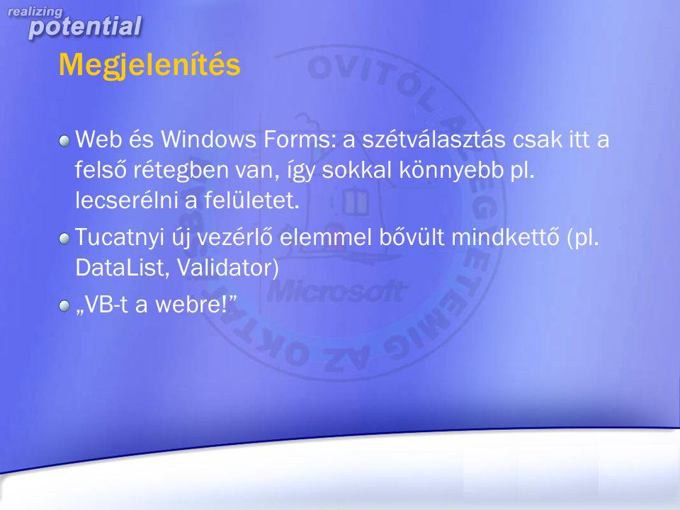 Megjelenítés Web és Windows Forms: a szétválasztás csak itt a felső rétegben van, így sokkal könnyebb pl. lecserélni a felületet. Tucatnyi új vezérlő