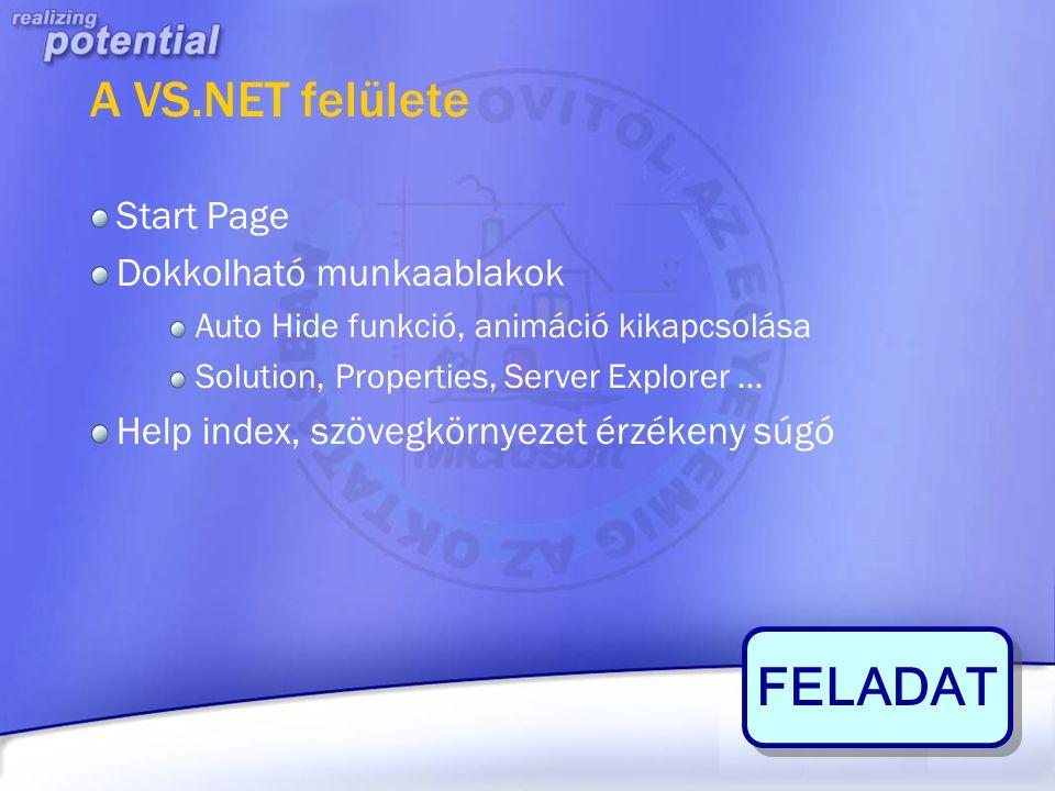 A VS.NET felülete Start Page Dokkolható munkaablakok Auto Hide funkció, animáció kikapcsolása Solution, Properties, Server Explorer … Help index, szöv