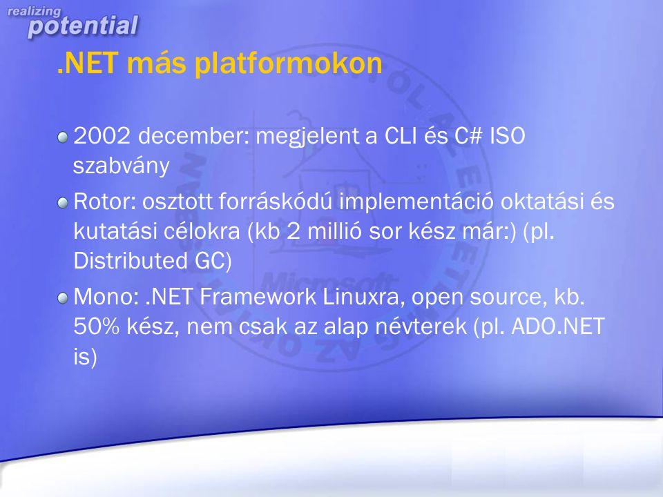 .NET más platformokon 2002 december: megjelent a CLI és C# ISO szabvány Rotor: osztott forráskódú implementáció oktatási és kutatási célokra (kb 2 mil
