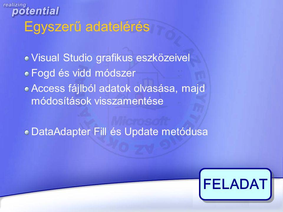 Egyszerű adatelérés Visual Studio grafikus eszközeivel Fogd és vidd módszer Access fájlból adatok olvasása, majd módosítások visszamentése DataAdapter