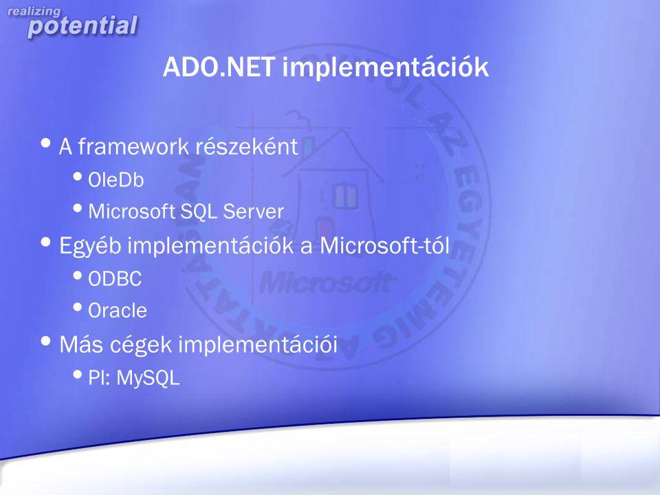 ADO.NET implementációk A framework részeként OleDb Microsoft SQL Server Egyéb implementációk a Microsoft-tól ODBC Oracle Más cégek implementációi Pl: