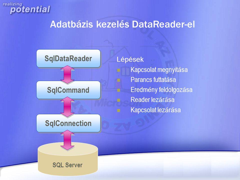 Adatbázis kezelés DataReader-el SQL Server Lépések Kapcsolat megnyit á sa Parancs futtat á sa Eredm é ny feldo l goz á sa Reader lez á r á sa Kapcsola