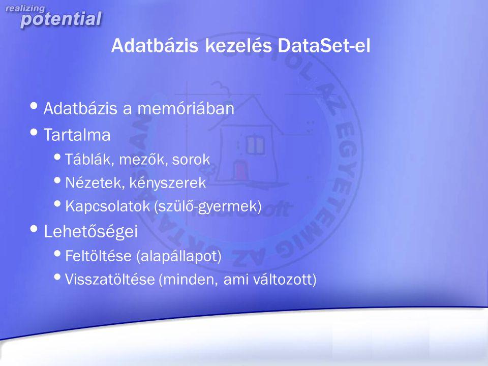 Adatbázis kezelés DataSet-el Adatbázis a memóriában Tartalma Táblák, mezők, sorok Nézetek, kényszerek Kapcsolatok (szülő-gyermek) Lehetőségei Feltölté