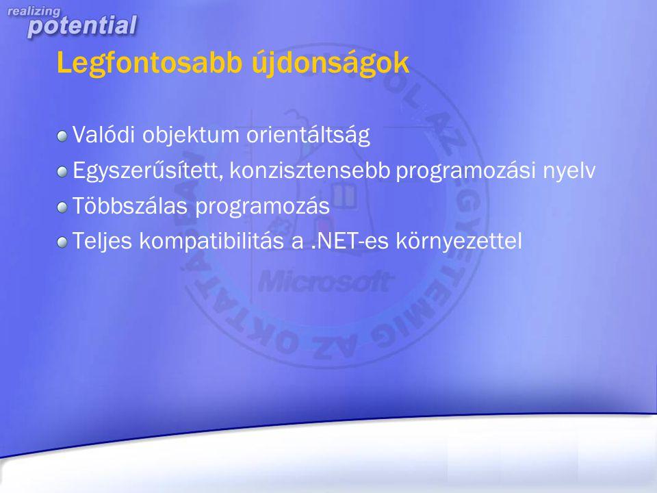 """.NET FrameWork Az új futtatókörnyezet, a.NET lelke Egy egységes felület az összes, eddig külön-külön létezett technológia (ASP, MFC, VB Forms) """"egyesítésével ."""