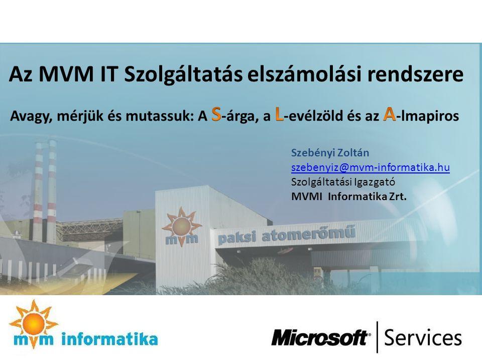 Az MVM IT Szolgáltatás elszámolási rendszere Szebényi Zoltán szebenyiz@mvm-informatika.hu Szolgáltatási Igazgató MVMI Informatika Zrt.