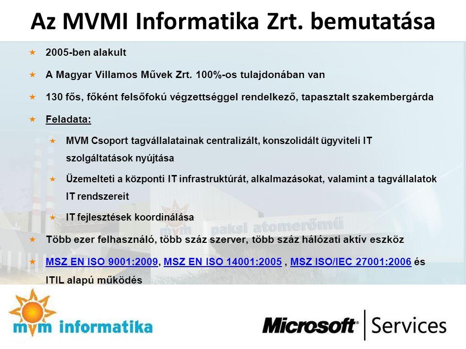 Az MVMI Informatika Zrt. bemutatása  2005-ben alakult  A Magyar Villamos Művek Zrt. 100%-os tulajdonában van  130 fős, főként felsőfokú végzettségg