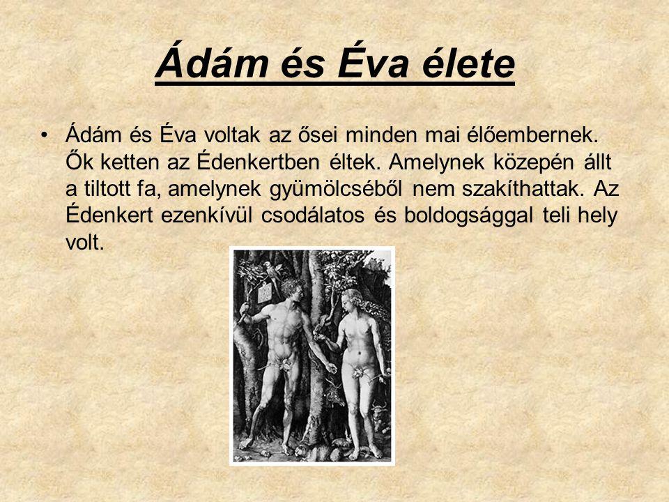 Ádám és Éva élete Ádám és Éva voltak az ősei minden mai élőembernek. Ők ketten az Édenkertben éltek. Amelynek közepén állt a tiltott fa, amelynek gyüm