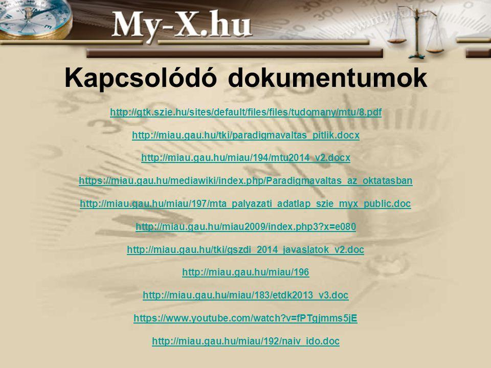 INNOCSEKK 156/2006 Kapcsolódó dokumentumok http://gtk.szie.hu/sites/default/files/files/tudomany/mtu/8.pdf http://miau.gau.hu/tki/paradigmavaltas_pitlik.docx http://miau.gau.hu/miau/194/mtu2014_v2.docx https://miau.gau.hu/mediawiki/index.php/Paradigmavaltas_az_oktatasban http://miau.gau.hu/miau/197/mta_palyazati_adatlap_szie_myx_public.doc http://miau.gau.hu/miau2009/index.php3 x=e080 http://miau.gau.hu/tki/gszdi_2014_javaslatok_v2.doc http://miau.gau.hu/miau/196 http://miau.gau.hu/miau/183/etdk2013_v3.doc https://www.youtube.com/watch v=fPTgjmms5jE http://miau.gau.hu/miau/192/naiv_ido.doc http://gtk.szie.hu/sites/default/files/files/tudomany/mtu/8.pdf http://miau.gau.hu/tki/paradigmavaltas_pitlik.docx http://miau.gau.hu/miau/194/mtu2014_v2.docx https://miau.gau.hu/mediawiki/index.php/Paradigmavaltas_az_oktatasban http://miau.gau.hu/miau/197/mta_palyazati_adatlap_szie_myx_public.doc http://miau.gau.hu/miau2009/index.php3 x=e080 http://miau.gau.hu/tki/gszdi_2014_javaslatok_v2.doc http://miau.gau.hu/miau/196 http://miau.gau.hu/miau/183/etdk2013_v3.doc https://www.youtube.com/watch v=fPTgjmms5jE http://miau.gau.hu/miau/192/naiv_ido.doc