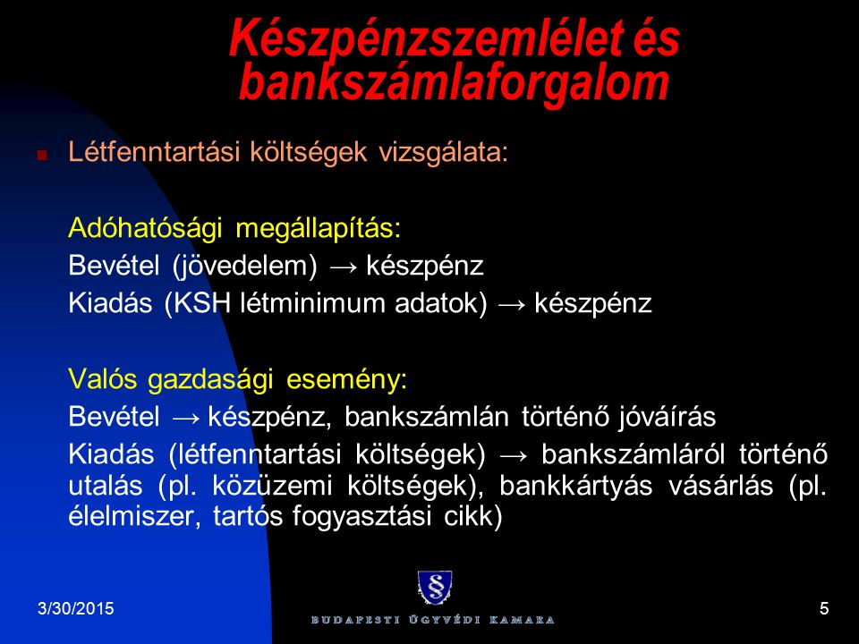 3/30/20155 Készpénzszemlélet és bankszámlaforgalom Létfenntartási költségek vizsgálata: Adóhatósági megállapítás: Bevétel (jövedelem) → készpénz Kiadá