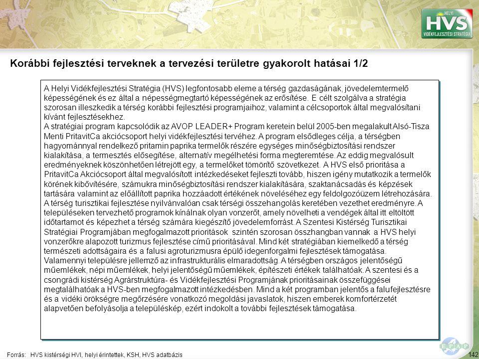 142 A Helyi Vidékfejlesztési Stratégia (HVS) legfontosabb eleme a térség gazdaságának, jövedelemtermelő képességének és ez által a népességmegtartó képességének az erősítése.