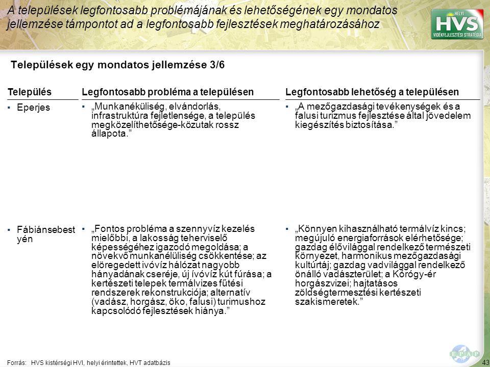 """43 Települések egy mondatos jellemzése 3/6 A települések legfontosabb problémájának és lehetőségének egy mondatos jellemzése támpontot ad a legfontosabb fejlesztések meghatározásához Forrás:HVS kistérségi HVI, helyi érintettek, HVT adatbázis TelepülésLegfontosabb probléma a településen ▪Eperjes ▪""""Munkanéküliség, elvándorlás, infrastruktúra fejletlensége, a település megközelíthetősége-közutak rossz állapota. ▪Fábiánsebest yén ▪""""Fontos probléma a szennyvíz kezelés mielőbbi, a lakosság teherviselő képességéhez igazodó megoldása; a növekvő munkanélüliség csökkentése; az elöregedett ivóvíz hálózat nagyobb hányadának cseréje, új ívóvíz kút fúrása; a kertészeti telepek termálvizes fűtési rendszerek rekonstrukciója; alternatív (vadász, horgász, öko, falusi) turimushoz kapcsolódó fejlesztések hiánya. Legfontosabb lehetőség a településen ▪""""A mezőgazdasági tevékenységek és a falusi turizmus fejlesztése által jövedelem kiegészítés biztosítása. ▪""""Könnyen kihasználható termálvíz kincs; megújuló energiaforrások elérhetősége; gazdag élővilággal rendelkező természeti környezet, harmonikus mezőgazdasági kultúrtáj; gazdag vadvilággal rendelkező önálló vadászterület; a Kórógy-ér horgászvizei; hajtatásos zöldségtermesztési kertészeti szakismeretek."""