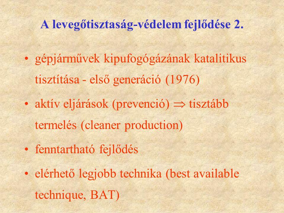 A levegőtisztaság-védelem fejlődése 2. gépjárművek kipufogógázának katalitikus tisztítása - első generáció (1976) aktív eljárások (prevenció)  tisztá