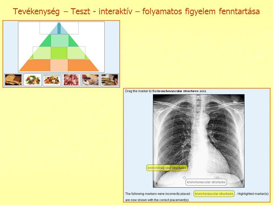 Tevékenység – Teszt - interaktív – folyamatos figyelem fenntartása