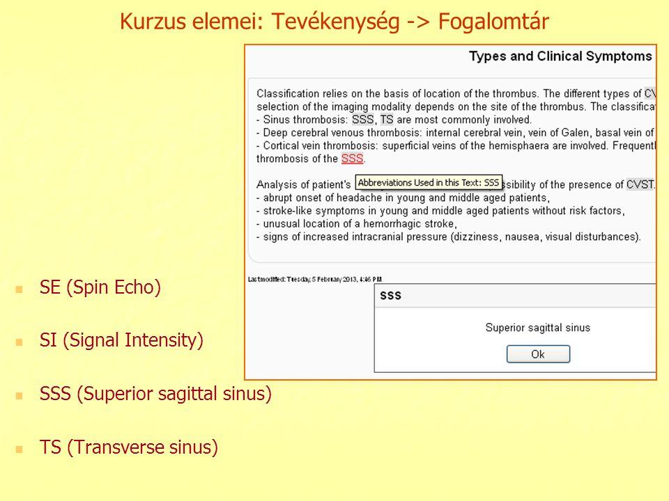 Kurzus elemei: Tevékenység -> Fogalomtár SE (Spin Echo) SI (Signal Intensity) SSS (Superior sagittal sinus) TS (Transverse sinus)
