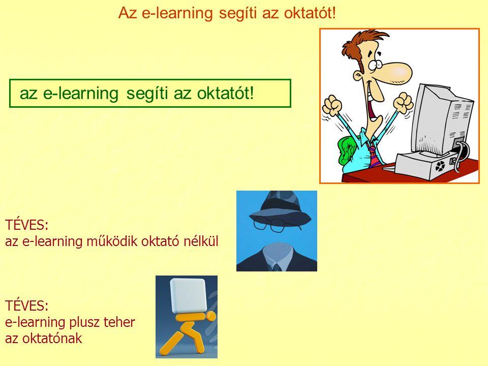 Az e-learning segíti az oktatót! az e-learning segíti az oktatót! TÉVES: e-learning plusz teher az oktatónak TÉVES: az e-learning működik oktató nélkü