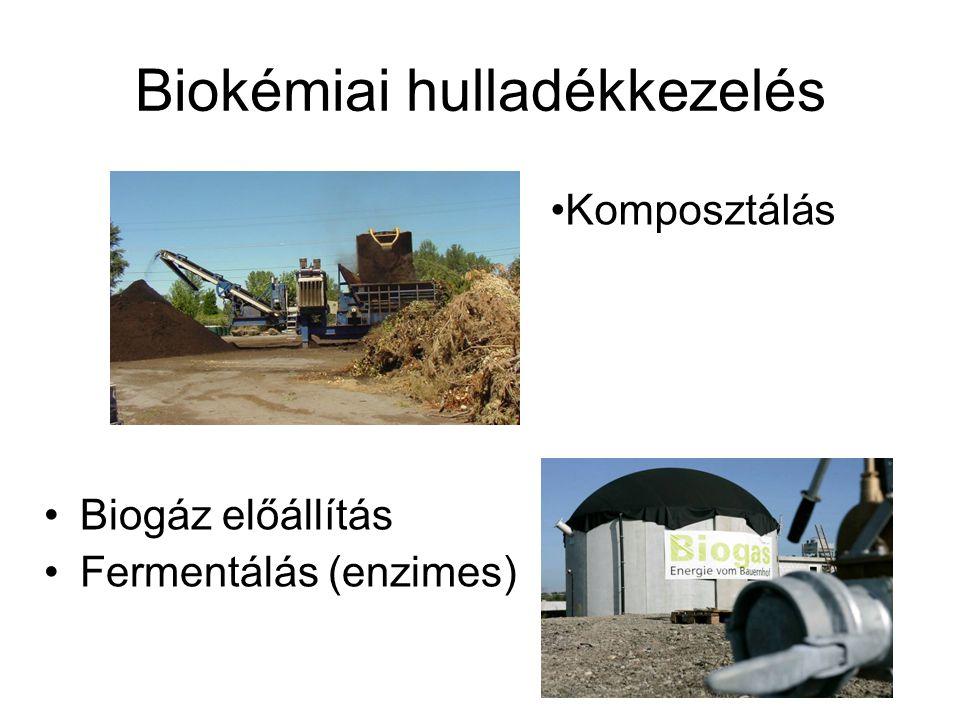 Biokémiai hulladékkezelés Biogáz előállítás Fermentálás (enzimes) Komposztálás