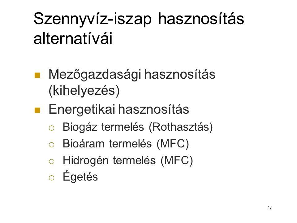 Szennyvíz-iszap hasznosítás alternatívái Mezőgazdasági hasznosítás (kihelyezés) Energetikai hasznosítás  Biogáz termelés (Rothasztás)  Bioáram termelés (MFC)  Hidrogén termelés (MFC)  Égetés 17