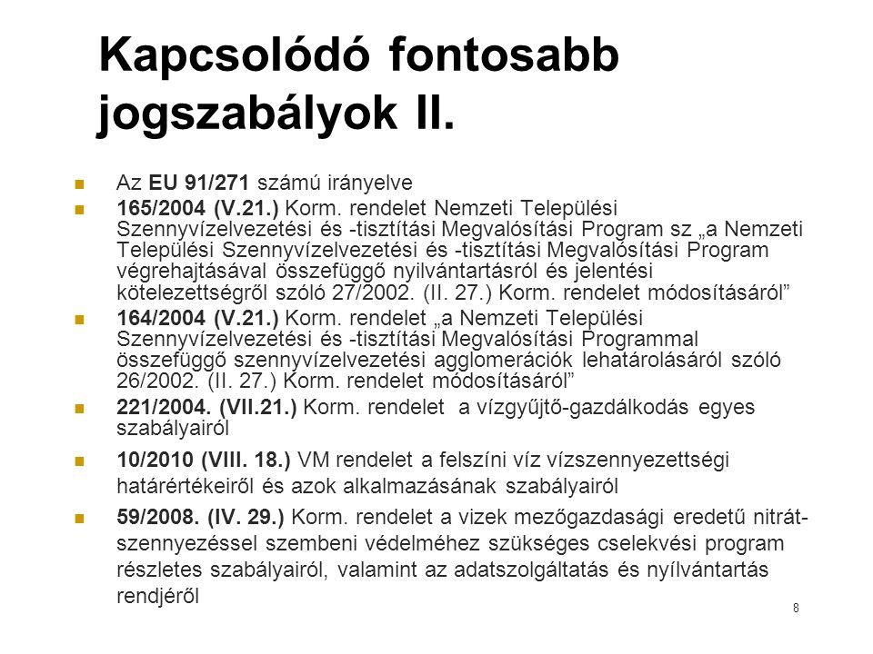 8 Kapcsolódó fontosabb jogszabályok II.Az EU 91/271 számú irányelve 165/2004 (V.21.) Korm.
