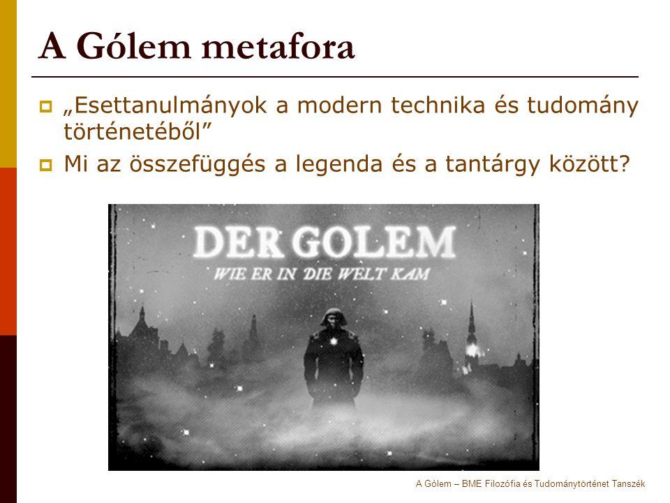 """A Gólem metafora  """"Esettanulmányok a modern technika és tudomány történetéből  Mi az összefüggés a legenda és a tantárgy között."""