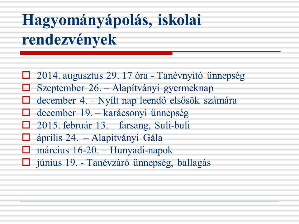 Hagyományápolás, iskolai rendezvények  2014. augusztus 29. 17 óra - Tanévnyitó ünnepség  Szeptember 26. – Alapítványi gyermeknap  december 4. – Nyí