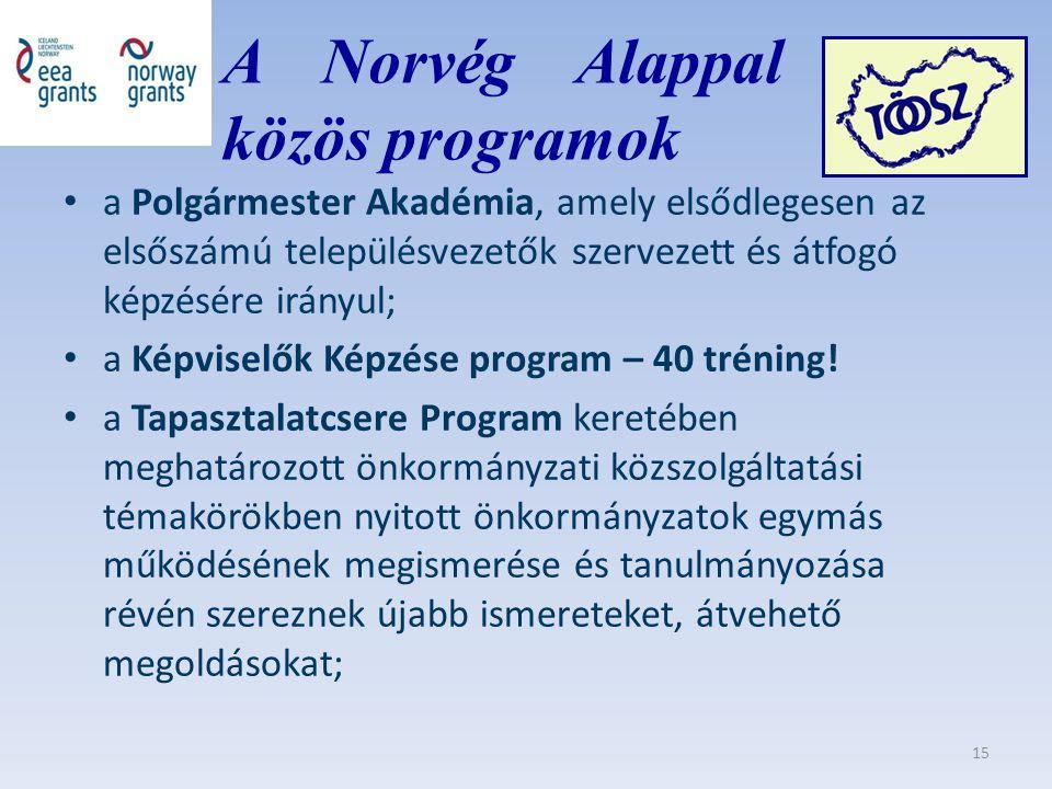 A Norvég Alappal közös közös programok a Polgármester Akadémia, amely elsődlegesen az elsőszámú településvezetők szervezett és átfogó képzésére irányul; a Képviselők Képzése program – 40 tréning.