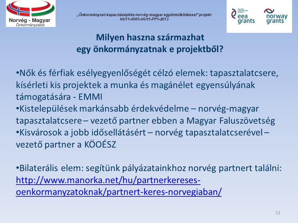 """""""Önkormányzati kapacitásépítés norvég ‐ magyar együttműködéssel"""" projekt HU11-0005-HU11-PP1-2013 Milyen haszna származhat egy önkormányzatnak e projek"""