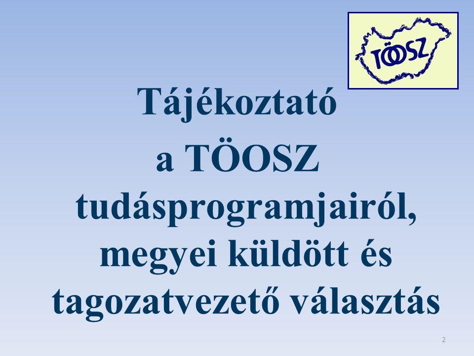 Tájékoztató a TÖOSZ tudásprogramjairól, megyei küldött és tagozatvezető választás 2