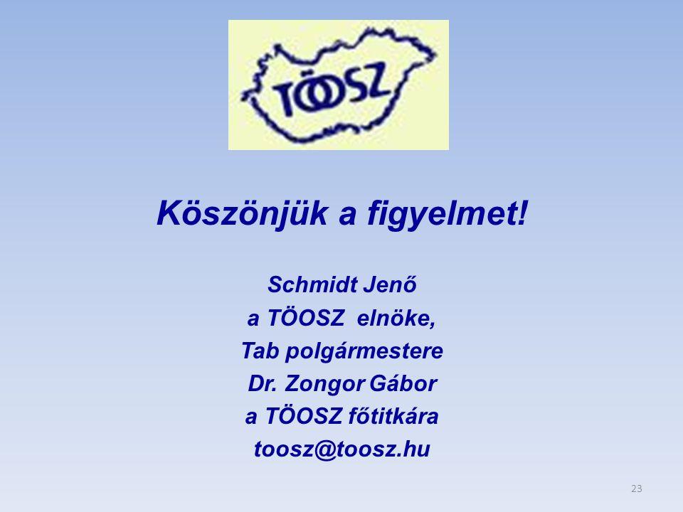 Köszönjük a figyelmet! Schmidt Jenő a TÖOSZ elnöke, Tab polgármestere Dr. Zongor Gábor a TÖOSZ főtitkára toosz@toosz.hu 23