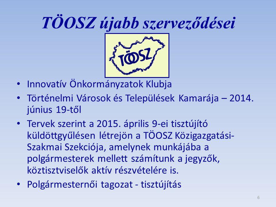 TÖOSZ újabb szerveződései Innovatív Önkormányzatok Klubja Történelmi Városok és Települések Kamarája – 2014. június 19-től Tervek szerint a 2015. ápri