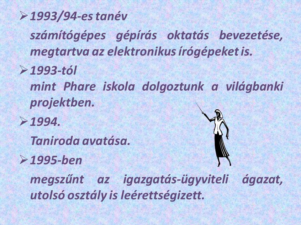  1993/94-es tanév számítógépes gépírás oktatás bevezetése, megtartva az elektronikus írógépeket is.  1993-tól mint Phare iskola dolgoztunk a világba