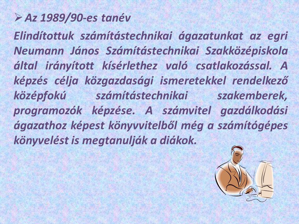  Az 1989/90-es tanév Elindítottuk számítástechnikai ágazatunkat az egri Neumann János Számítástechnikai Szakközépiskola által irányított kísérlethez való csatlakozással.