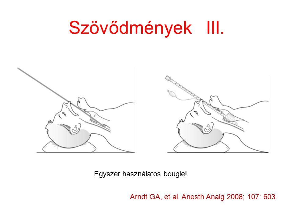 Szövődmények III. Arndt GA, et al. Anesth Analg 2008; 107: 603. Egyszer használatos bougie!