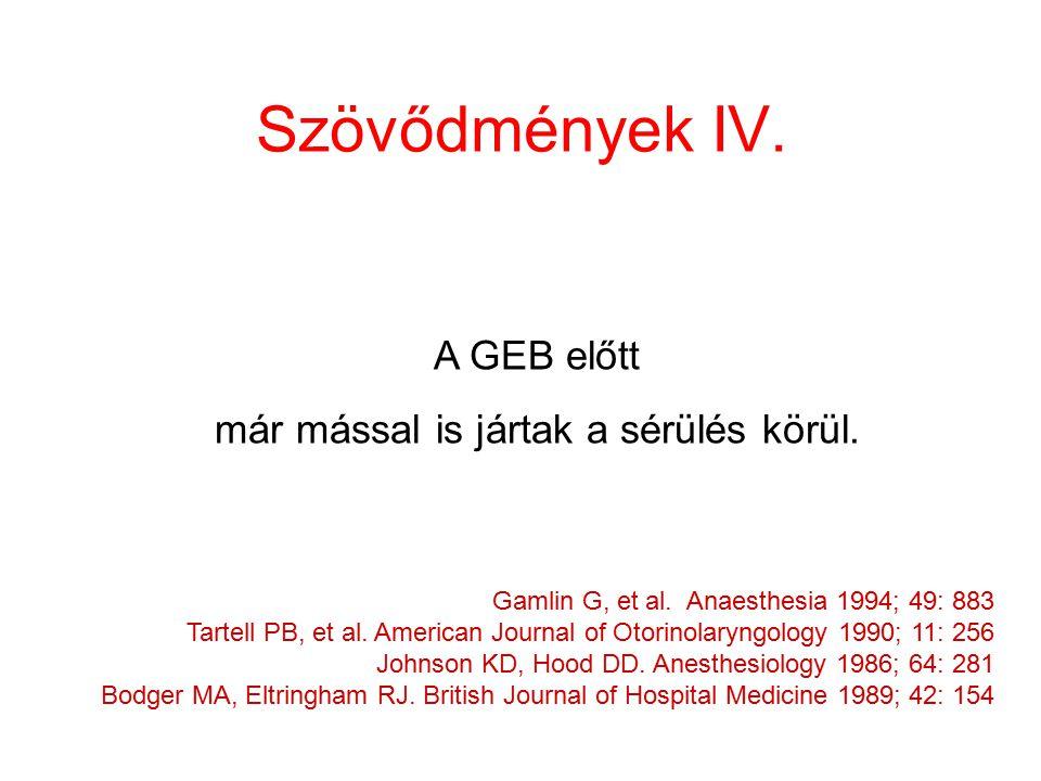 Szövődmények IV. Gamlin G, et al. Anaesthesia 1994; 49: 883 Tartell PB, et al. American Journal of Otorinolaryngology 1990; 11: 256 Johnson KD, Hood D