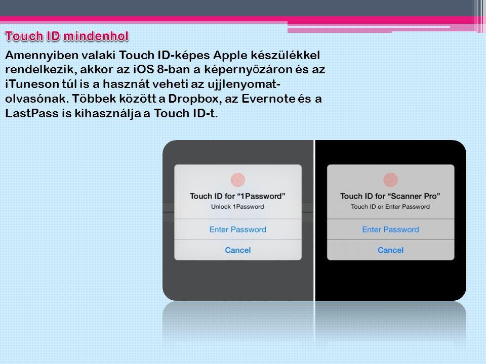 Amennyiben valaki Touch ID-képes Apple készülékkel rendelkezik, akkor az iOS 8-ban a képerny ő záron és az iTuneson túl is a hasznát veheti az ujjleny