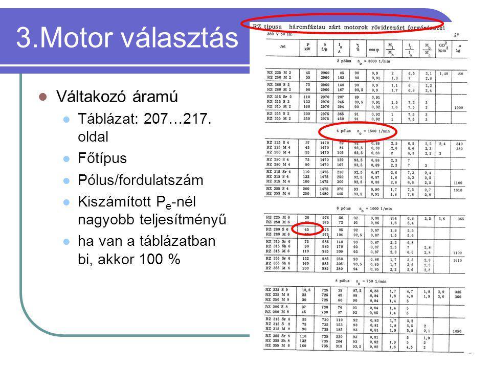 3.Motor választás Váltakozó áramú Táblázat: 207…217. oldal Főtípus Pólus/fordulatszám Kiszámított P e -nél nagyobb teljesítményű ha van a táblázatban
