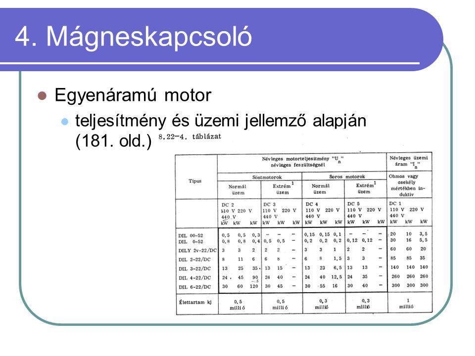 4. Mágneskapcsoló Egyenáramú motor teljesítmény és üzemi jellemző alapján (181. old.)