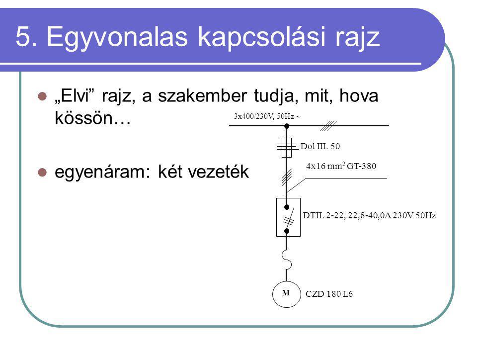 """5. Egyvonalas kapcsolási rajz """"Elvi"""" rajz, a szakember tudja, mit, hova kössön… egyenáram: két vezeték 3x400/230V, 50Hz ~ M Dol III. 50 4x16 mm 2 GT-3"""