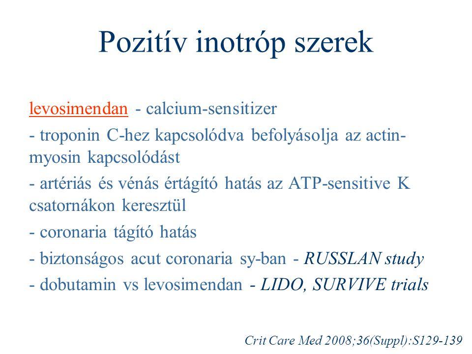 Pozitív inotróp szerek levosimendan - calcium-sensitizer - troponin C-hez kapcsolódva befolyásolja az actin- myosin kapcsolódást - artériás és vénás é