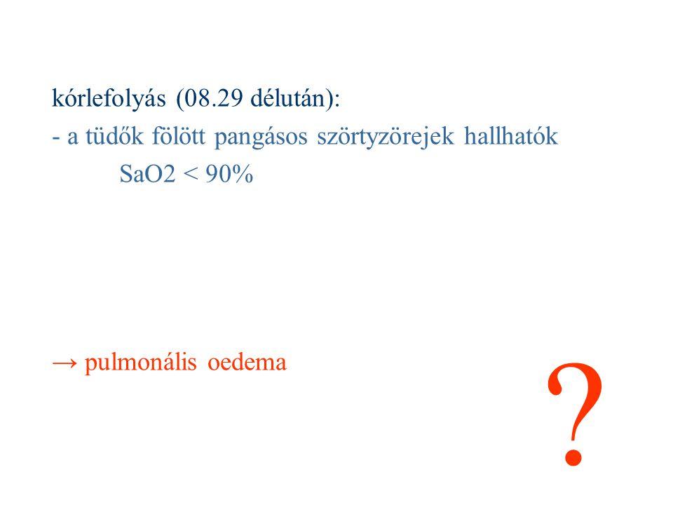 kórlefolyás (08.29 délután): - a tüdők fölött pangásos szörtyzörejek hallhatók SaO2 < 90% → pulmonális oedema ?
