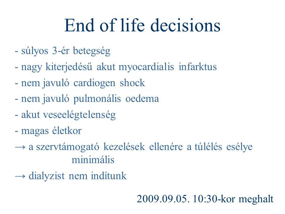 End of life decisions - súlyos 3-ér betegség - nagy kiterjedésű akut myocardialis infarktus - nem javuló cardiogen shock - nem javuló pulmonális oedem