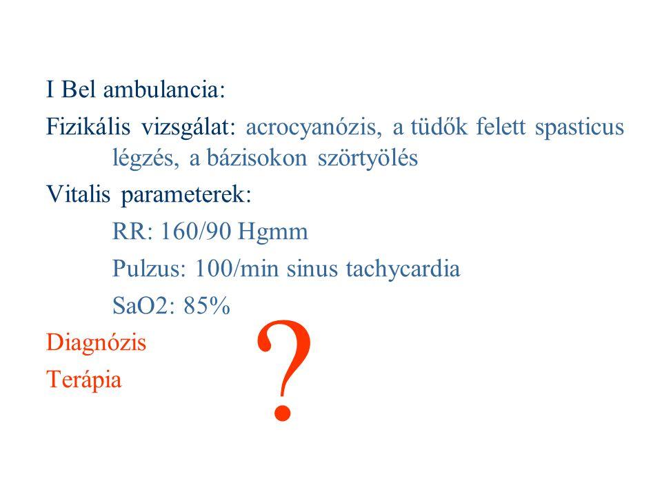 I Bel ambulancia: Fizikális vizsgálat: acrocyanózis, a tüdők felett spasticus légzés, a bázisokon szörtyölés Vitalis parameterek: RR: 160/90 Hgmm Pulz