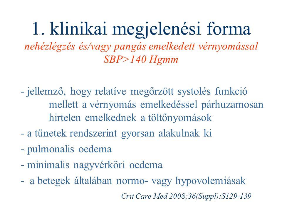1. klinikai megjelenési forma nehézlégzés és/vagy pangás emelkedett vérnyomással SBP>140 Hgmm - jellemző, hogy relatíve megőrzött systolés funkció mel