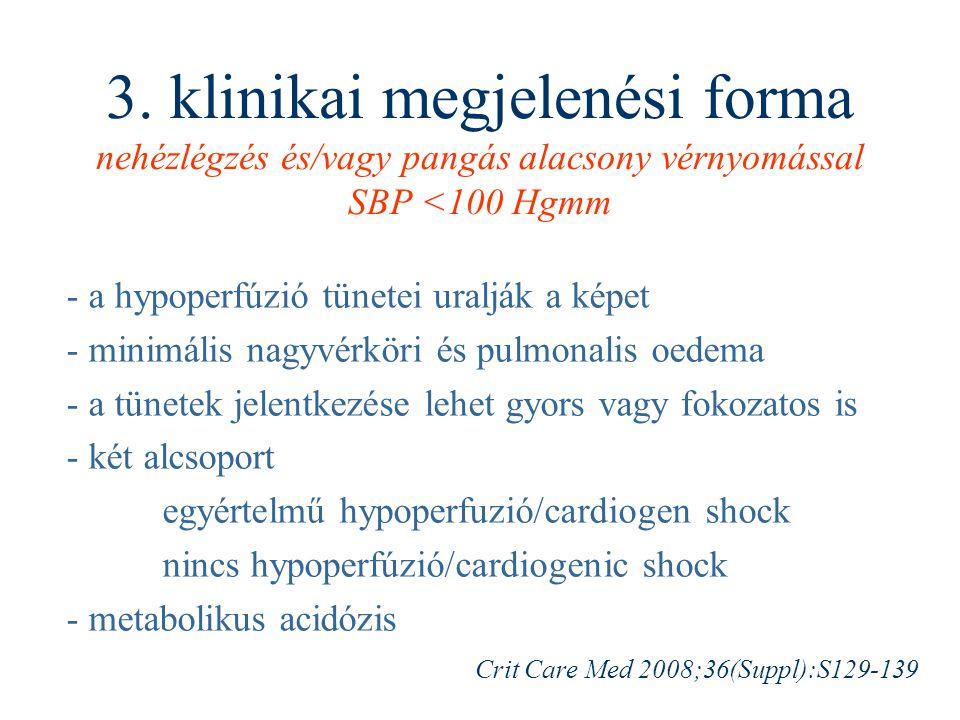 3. klinikai megjelenési forma nehézlégzés és/vagy pangás alacsony vérnyomással SBP <100 Hgmm - a hypoperfúzió tünetei uralják a képet - minimális nagy