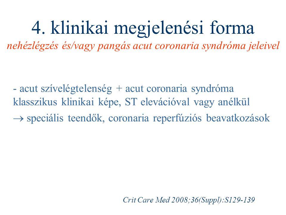 4. klinikai megjelenési forma nehézlégzés és/vagy pangás acut coronaria syndróma jeleivel - acut szívelégtelenség + acut coronaria syndróma klasszikus