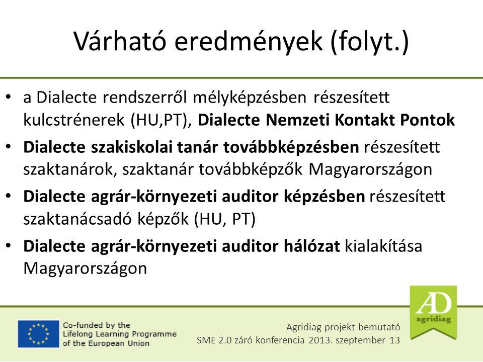 Várható eredmények (folyt.) a Dialecte rendszerről mélyképzésben részesített kulcstrénerek (HU,PT), Dialecte Nemzeti Kontakt Pontok Dialecte szakiskolai tanár továbbképzésben részesített szaktanárok, szaktanár továbbképzők Magyarországon Dialecte agrár-környezeti auditor képzésben részesített szaktanácsadó képzők (HU, PT) Dialecte agrár-környezeti auditor hálózat kialakítása Magyarországon Agridiag projekt bemutató SME 2.0 záró konferencia 2013.