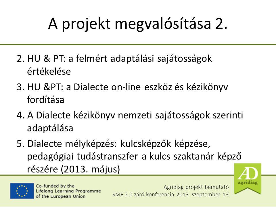 2. HU & PT: a felmért adaptálási sajátosságok értékelése 3. HU &PT: a Dialecte on-line eszköz és kézikönyv fordítása 4. A Dialecte kézikönyv nemzeti s