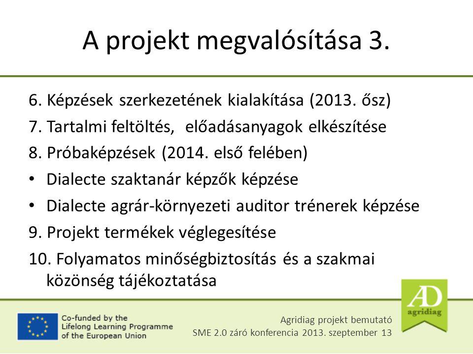 6. Képzések szerkezetének kialakítása (2013. ősz) 7. Tartalmi feltöltés, előadásanyagok elkészítése 8. Próbaképzések (2014. első felében) Dialecte sza
