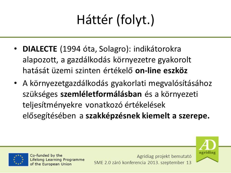 Háttér (folyt.) DIALECTE (1994 óta, Solagro): indikátorokra alapozott, a gazdálkodás környezetre gyakorolt hatását üzemi szinten értékelő on-line eszköz A környezetgazdálkodás gyakorlati megvalósításához szükséges szemléletformálásban és a környezeti teljesítményekre vonatkozó értékelések elősegítésében a szakképzésnek kiemelt a szerepe.